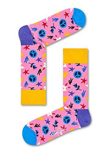 Happy Socks Peace And Love Sock Peace And Love Pink 36-40 by Happy Socks