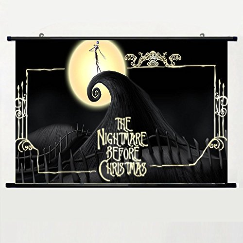 Eyor Home Decor Art Cosplay DIY Prints Poster with Nightmare Before Christmas 66 Wall Scroll Poster Fabric Painting 23.6 X 16.7 Inch (60cm X 40 cm) ()