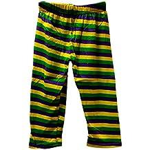 MGPS Mardi Gras Leggings 18-24 mth Stripe Purple Green Yellow Soft Knit