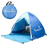 Beach Tent, Sunba Youth Pop Up Beach Umbrella, Easy Up Beach Tents, 90% UV Protection Sun Shelter, Beach Shade for Baby (Blue)