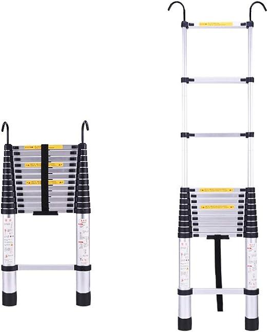 SUBBYE Escalera Extensible Escalera telescópica 2.1M Tall Telescópico Escalera Recta con Hooks, 6.9FT Multiusos Escalera De Aluminio Extensión Telescópica, 330 Libras / 150 Kg: Amazon.es: Hogar