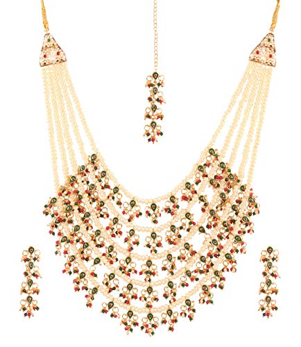 """Touchstone """"Mughal Jali Collection Indian Bollywood Faux Pearls Ruby Emerald Meenakari Enamel Charming Five Lada Grand Bridal Designer Wedding Jewelry Necklace Set for Women in Antique Gold Tone."""
