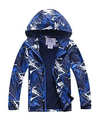 M2C Boys Outdoor Color Block Fleece Lining Windproof Jackets with Hood - Blue - 4T