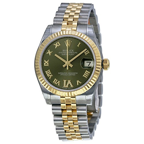 Rolex Lady Datejust Automatic Green Dial Jubilee and Stainless Steel Band Ladies Watch 178273GNRJ