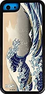 Rikki KnightTM Katsushika Hokusai Art A Big wave of Kanagawa White Tough-It Case Cover for iPhone 5 & 5s(Double Layer case with Silicone Protection and thick front bumper protection)