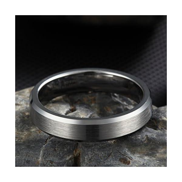 Frank S.Burton 3mm 4mm 6mm 8mm Tungsten Ring for Men Women Beveled Edge Matte Silver Wedding Band