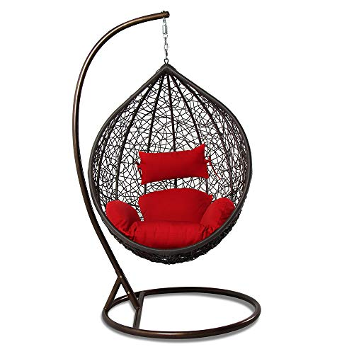 - Island Gale Hanging Basket Chair Outdoor Front Porch Furniture with Stand and Cushion (Brown Wicker, Red Cushion)