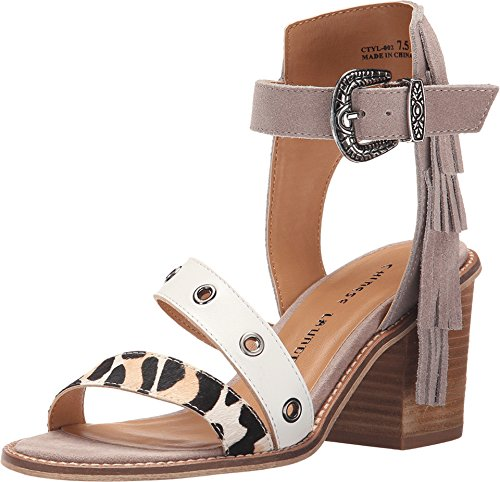 Chinese Laundry Women's Cowgirl Split Sue Heeled Sandal, Dust Grey, 7.5 M US - Grey Suede Print