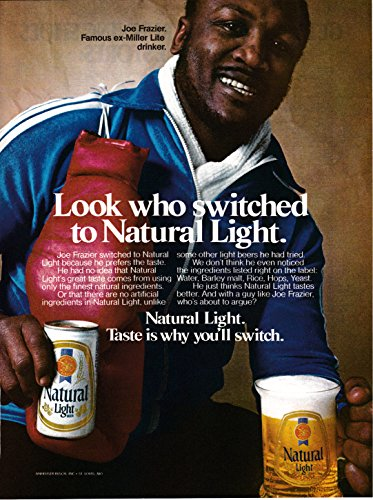 Joe Frazier Boxer - 1981 Natural Light-Smoken Joe Frazier-Boxer-Beer Original Magazine Ad-Ale Can