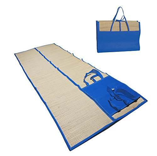 Foldable Beach Mat 180 x 60cm Natural Straw Blanket, Beach Yoga -