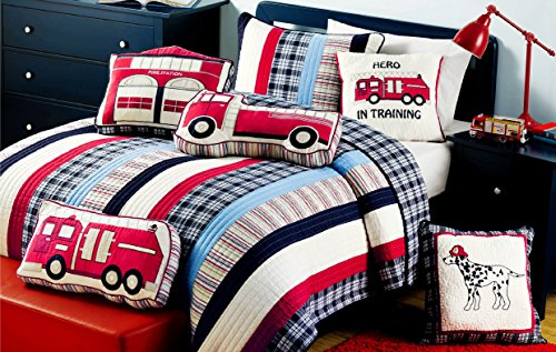 Cozy Line Home Fashions Cars Collection Quilt Bedding Set for Boy, 100% Cotton Navy/Blue/Red Grid Stripe Reversible Bedspread Coverlet,Gifts for...