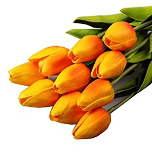 Outtop 10PCS / LOT 13.8 Inch Mini Tulip Single Stem Artificial Flowers Bouquets Real Touch Fake Flowers for Decoration 10 heads (Orange) 102