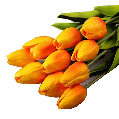 Outtop 10PCS / LOT 13.8 Inch Mini Tulip Single Stem Artificial Flowers Bouquets Real Touch Fake Flowers for Decoration 10 heads (Orange)