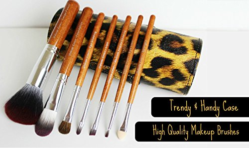 Makeup Brushes Set -'Instinct' - 7 Pce Travel Kit Beautifully Packaged in a High Fashion Leopard Print Makeup Brush Cup Holder. An Essential Collection of Best Synthetic and Natural Fiber Brushes - Foundation, Contour, Concealer, Powder, Fan, Eyeshadow and Lip Brushes Each Designed to Deliver a Perfect Makeup Application and Flawless Finish Every Time. Bring Out the Animal in You and Crown Yourself Queen of the Vanity Jungle. 100% Money Back Guarantee.