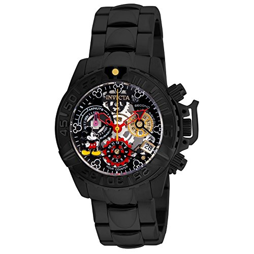 Invicta 24508 Women's Disney Subaqua Noma II Skeleton Dial Black IP Steel Bracelet Chrono Dive Watch