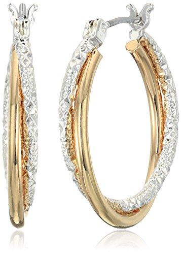 "Napier Classics"" Two-Tone Textured Click Top Hoop Earrings"