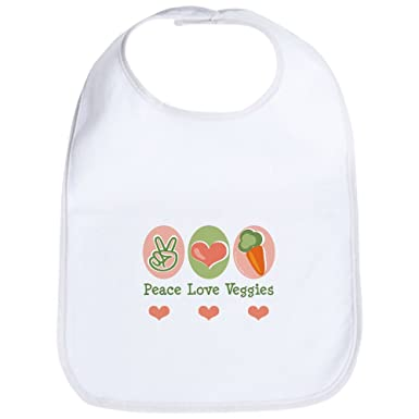 7139e8314 CafePress - Peace Love Veggies Vegan Bib - Cute Cloth Baby Bib, Toddler  Bib: Amazon.co.uk: Clothing