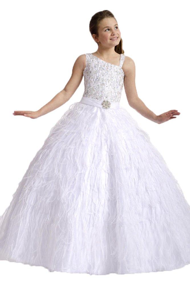 GreenBloom Flower Girls Wedding Dresses One-shoulder Sequins Evening Gowns White 14