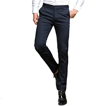 0e0e161ba05df7 Zhhmeiruian Pantalones Slim Fit Hombre de Vestir Pantalones de Traje para  Hombre negros perfecto para negocio