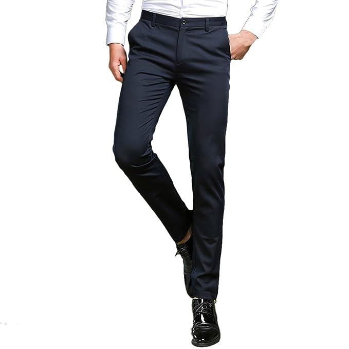 b660aab42f Zhhlaixing Pantalones Slim Fit Hombre de Vestir Pantalones de Traje para  Hombre Negros Negocio Fiesta Ceremonia  Amazon.es  Ropa y accesorios