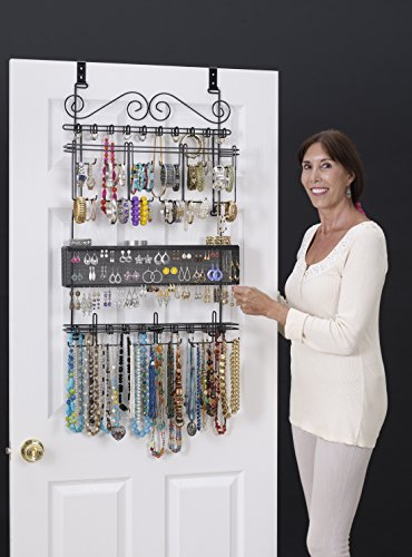 Longstem : 6100 Overdoor Wall Jewelry Organizer Valet in Black - Holds over 300 pieces! Unique patented product - Rated Best!