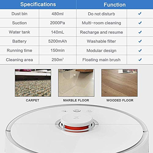 Roborock S5 Robotic Vacuum and Mop Cleaner, 2000Pa Super Power Suction &Wi-Fi Connectivity and Smart Navigating Robot Vacuum with 5200mAh Battery Capacity for Pet Hair, Carpet & Hard Floor (White)