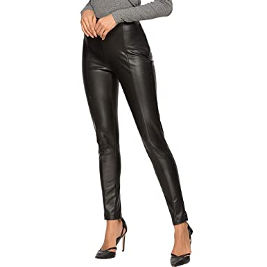 6ce7b66cd6b8 EVEDESIGN Women's Pull-On High Waisted PU Pants Faux Leather Tight Slim Fit  Pant Sexy