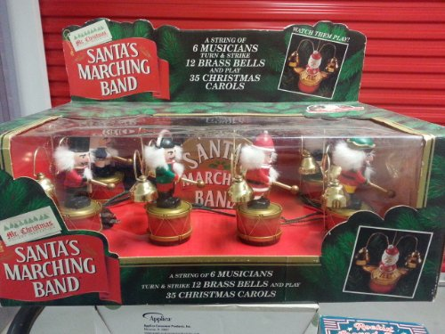 amazoncom mrchristmas santas marching band 6 musicians turn and strike bell home kitchen