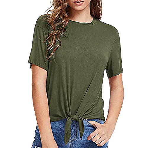 Fitfulvan Womens tops Strap Short Sleeve Casual T-Shirt O-Neck Short Sleeve Solid Bandage Tie Tops Leisure Sweatshirt Army Green