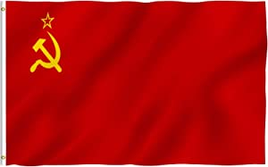 Anley Fly Breeze 3x5 Foot Soviet Union Flag - Vivid Color and Fade Proof - Canvas Header and Double Stitched - Union of Soviet Socialist Republics National Flags with Brass Grommets 3 X 5 Ft