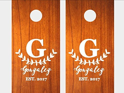 Set of 2 personalized corn hole decals/custom name and wedding date cornhole stickers/personalized wedding party decor/family name decal/rustic chic wedding