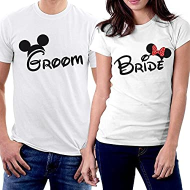 PicOnTshirt Groom & Bride MM Couple T-shirts Men XL / Women M White