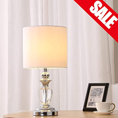 Fine Cotulin Modern Living Room Bedroom Crystal Table Lamp Desk Lamp With Fabric Shade And Chrome Base Download Free Architecture Designs Grimeyleaguecom