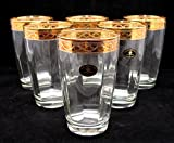 """""""Cristalleria Fratelli Fumo"""" Highball Crystal 12 Oz. Beverage Drinking Glasses, 24 Karat Gold Rimmed Trim, Hand Made in Italy, SET OF 6 for Water, Juice, Iced-Tea"""