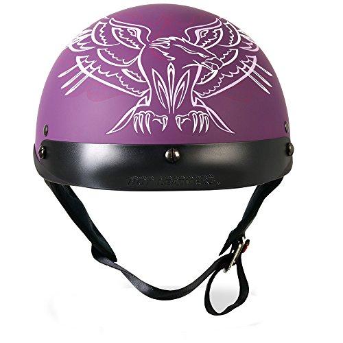 White Helmet Pinstripe Dot - Hot Leathers DOT Approved Pinstripe Upwing Ladies Helmet (Purple, Large)