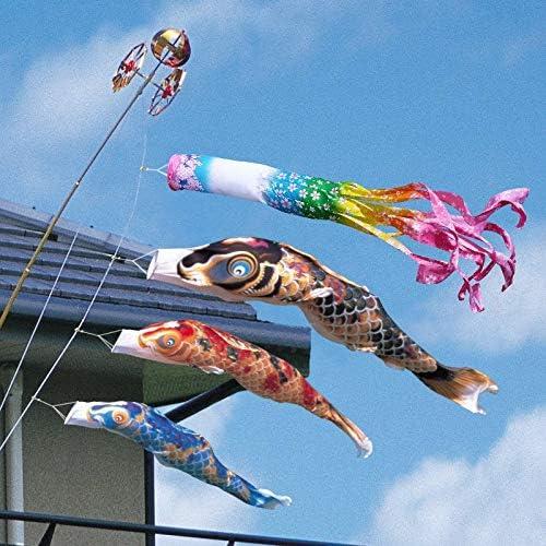 徳永 鯉のぼり ベランダ用 ロイヤルセット 格子取付タイプ 1.5m鯉3匹 京錦 桜風吹流し 日本の伝統文化 こいのぼり