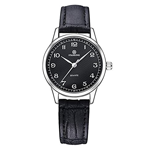 STARKING Watch Ultra Thin Women Genuine Leather Black BL0908 Japanese Quartz Numbers Waterproof Vintage (Watch Waterproof Prime)