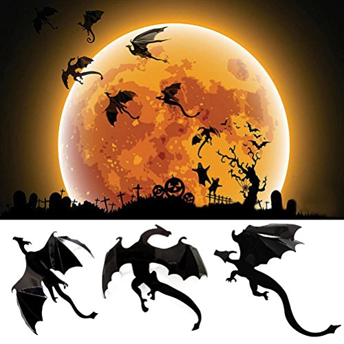 7Pcs 3D Halloween Gothic Wallpaper Stickers Game Power Limited Dragon Decoration By Makaor (7PCS, Black)