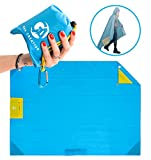 Outdoor Pocket Blanket Waterproof - Portable Mat Ideal for Beach, Camping, Festivals, Hiking w/ Rain Hood, Valuables Pocket, 4 Corner Pockets, Tie Down Loops & Storage Pouch, Blue by G&A Creation