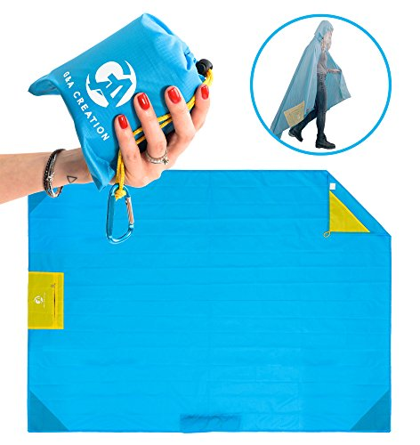 Outdoor Pocket Blanket Waterproof - Portable Mat Ideal for Beach, Camping, Festivals, Hiking w/ Rain Hood, Valuables Pocket, 4 Corner Pockets, Tie Down Loops & Storage Pouch, Blue by G&A Creation ()