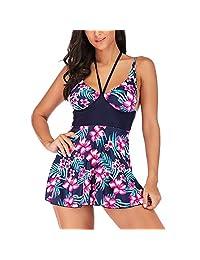 Trajes de baño de Mujer Impresos Tankini Conjuntos sin Espalda Sexy Bikini Traje de baño(XL-#25)