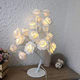 "AtneP LED White Rose Tree Home Decoration 24 LED Lighting | Size 9x18"" Inch 