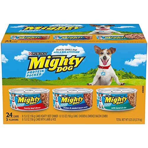 Purina Mighty Dog Small Breed Wet Dog Food Variety Pack; Hearty Beef, Smoked Chicken & Bacon Combo, Lamb & Rice - (24) 5.5 oz. Cans