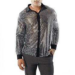 Men's Sequin Shiny Long Sleeve Disco Shirts