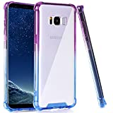 BAISRKE Galaxy S8 Case, Blue Purple Gradient Shock Absorption Flexible TPU Soft Edge Bumper Anti-Scratch Rigid Slim Protective Cases Hard Plastic Back Cover for Galaxy S8 (2017)