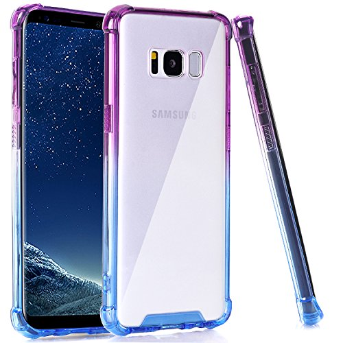 - BAISRKE Clear Case for Galaxy S8 Plus, Shock Absorption Flexible TPU Soft Edge Bumper Anti-Scratch Rigid Slim Protective Cases Hard Plastic Back Cover for Galaxy S8 Plus - Blue Purple Gradien