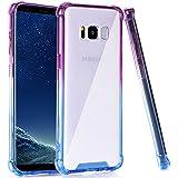 Galaxy S8 Case, BAISRKE Blue Purple Gradient Shock Absorption Flexible TPU Soft Edge Bumper Anti-Scratch Rigid Slim Protective Cases Hard Plastic Back Cover for Samsung Galaxy S8 (2017)