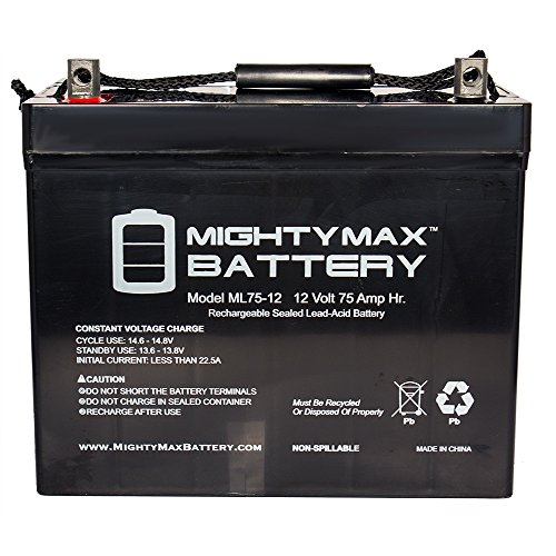 ML75-12 12V 75Ah Battery for Scooter Wheelchair Golf Cart Electric DC - Mighty Max Battery brand product by Mighty Max Battery
