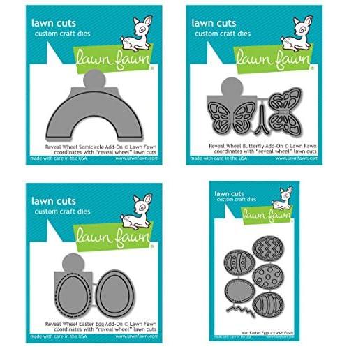 Lawn Fawn - Reveal Wheel Die Add-Ons Spring 2019 - Semicircle, Butterfly & Easter Egg Add-on Dies and Mini Easter Egg Die Set - 4 Item Bundle