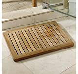 TeakStation Grade-A Teak Wood Rectangular 24'' Door / Shower/ Spa / Bath Floor Mat with Rounded Corners in Natural